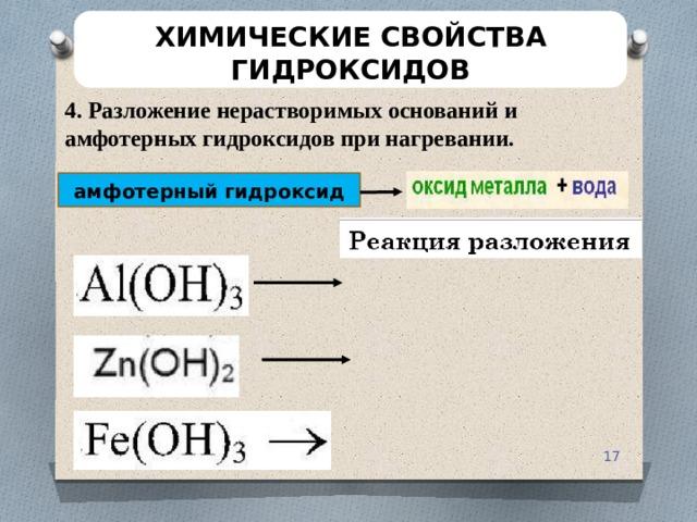 ХИМИЧЕСКИЕ СВОЙСТВА ГИДРОКСИДОВ 4. Разложение нерастворимых оснований и амфотерных гидроксидов при нагревании. амфотерный гидроксид
