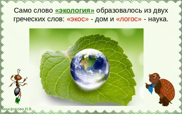 Само слово «экология» образовалось из двух греческих слов: «экос» - дом и «логос» - наука.