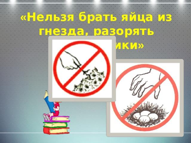 « Нельзя брать яйца из гнезда, разорять муравейники »