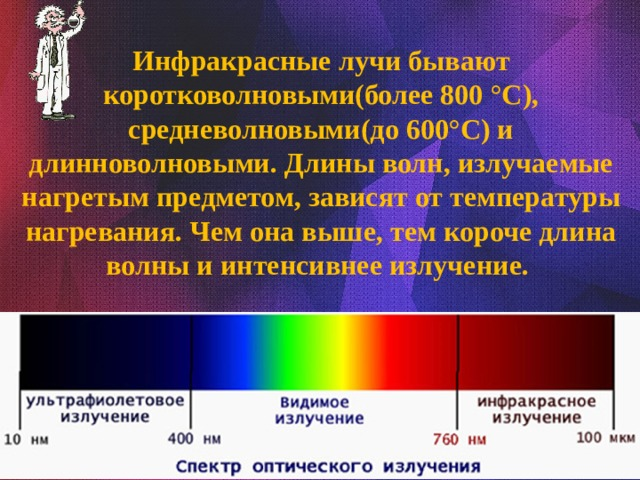 Инфракрасные лучи бывают коротковолновыми(более 800 °C), средневолновыми(до 600°C) и длинноволновыми. Длины волн, излучаемые нагретым предметом, зависят от температуры нагревания. Чем она выше, тем короче длина волны и интенсивнее излучение.