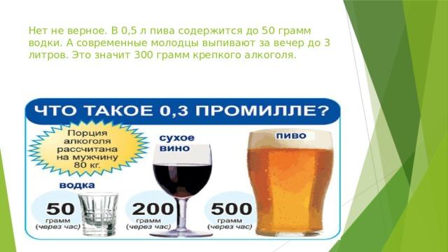 Нет не верное. В 0,5 л пива содержится до 50 грамм водки. А современные молодцы выпивают за вечер до 3 литров. Это значит 300 грамм крепкого алкоголя.