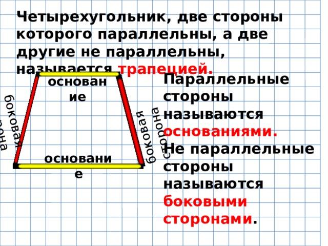 боковая сторона боковая сторона Четырехугольник, две стороны которого параллельны, а две другие не параллельны, называется трапецией. Параллельные стороны называются основаниями. Не параллельные стороны называются боковыми сторонами . основание основание