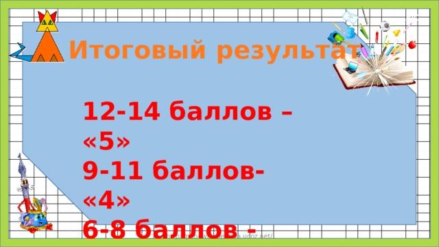 Итоговый результат 12-14 баллов – «5» 9-11 баллов- «4» 6-8 баллов - «3» http://panowavalentina.ucoz.net/