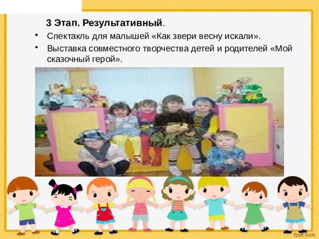 Цель: Формирование у детей представления о театре как об искусстве mdou11.caduk.ru  3 Этап. Результативный .