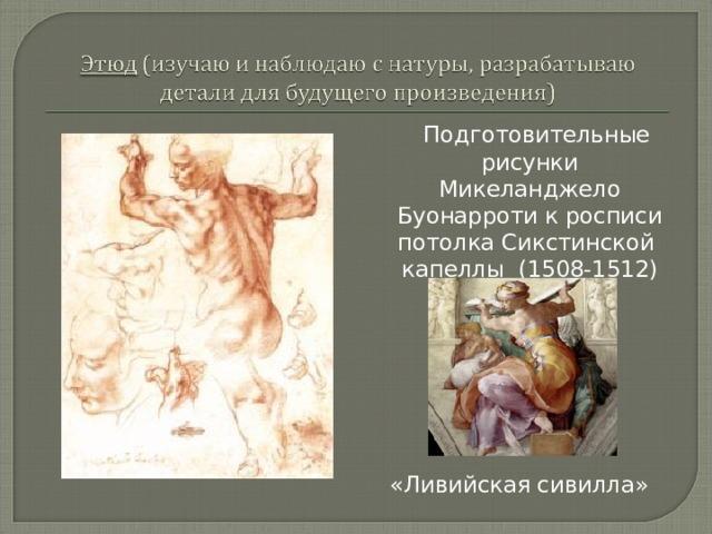 Подготовительные рисунки Микеланджело Буонарроти к росписи потолка Сикстинской капеллы (1508-1512) «Ливийская сивилла»