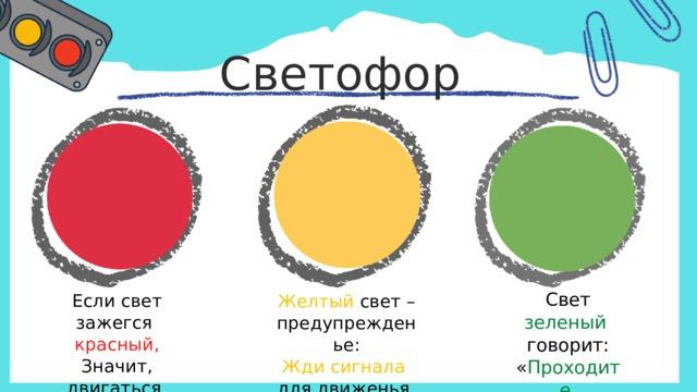 Светофор Свет зеленый говорит: « Проходите ,  путь открыт!» Если свет зажегся красный , Значит, двигаться опасно ! Желтый свет – предупрежденье: Жди сигнала для движенья.