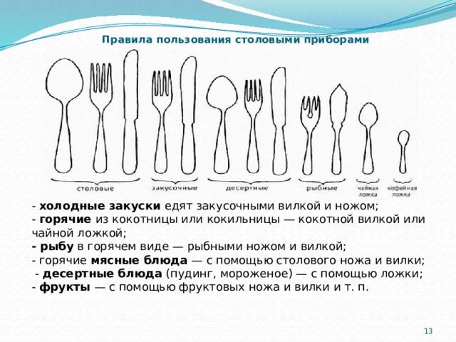 Правила пользования столовыми приборами - холодные закуски едят закусочными вилкой и ножом; - горячие из кокотницы или кокильницы — кокотной вилкой или чайной ложкой; - рыбу в горячем виде — рыбными ножом и вилкой; - горячие мясные блюда — с помощью столового ножа и вилки;  - десертные блюда (пудинг, мороженое) — с помощью ложки; - фрукты — с помощью фруктовых ножа и вилки и т. п. 5