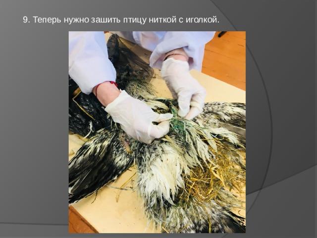 9. Теперь нужно зашить птицу ниткой с иголкой.