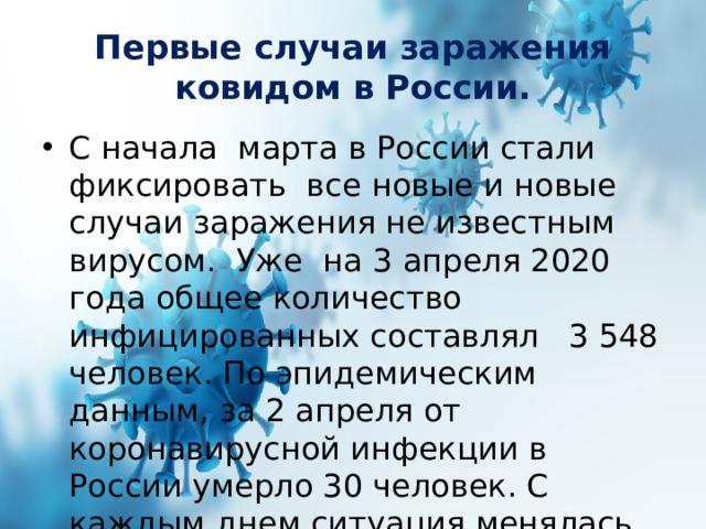 Первые случаи заражения ковидом в России.