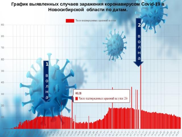 График выявленных случаев заражения коронавирусом Covid-19 в Новосибирской области по датам. 2 волна 1 волна