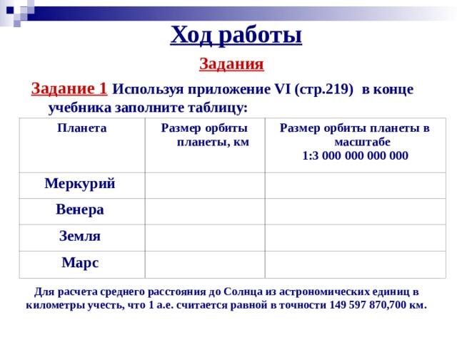 Ход работы Задания  Задание 1  Используя приложение VI (стр.219)  в конце учебника заполните таблицу: Планета Размер орбиты планеты, км Меркурий Размер орбиты планеты в масштабе 1:3 000  000  000 000 Венера Земля Марс Для расчета среднего расстояния до Солнца из астрономических единиц в километры учесть, что 1 а.е. считается равной в точности149597870,700 км.