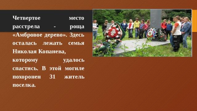 Четвертое место расстрела - роща «Амбровое дерево». Здесь осталась лежать семья НиколаяКопанева, которому удалось спастись. В этой могиле похоронен 31 житель поселка.