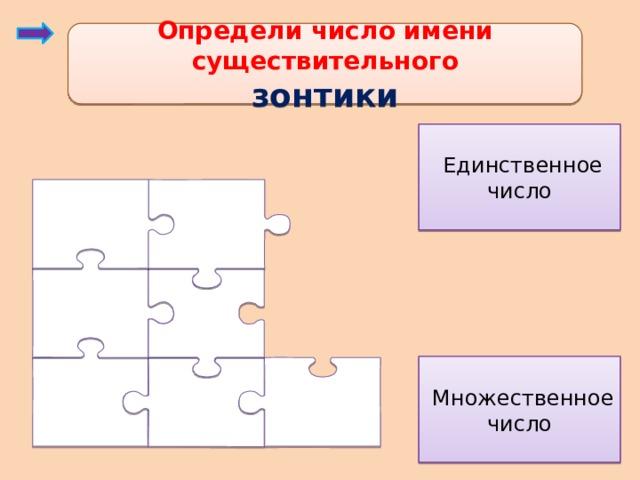 Определи число имени существительного зонтики  Единственное число  Множественное число