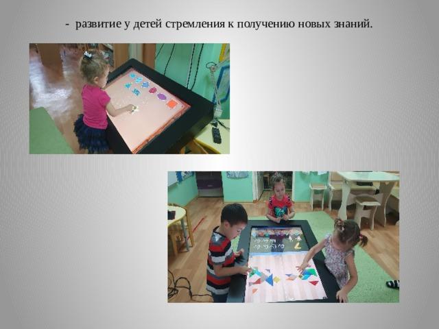 - развитие у детей стремления к получению новых знаний.