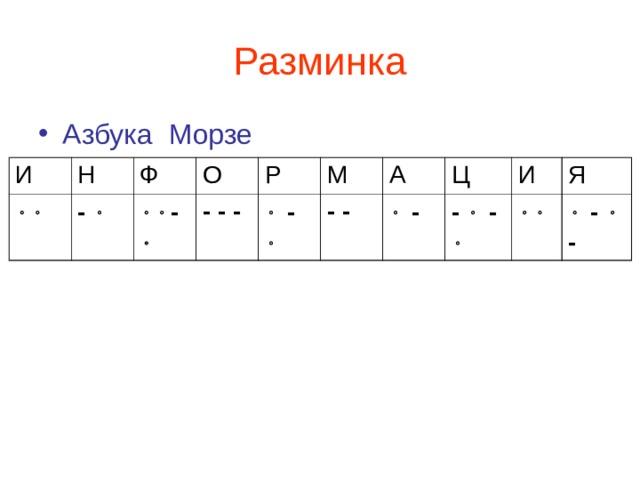 Разминка Азбука Морзе И Н  -  Ф О  -  - - - Р М   -  - - А   - Ц -  -  И Я    -  -