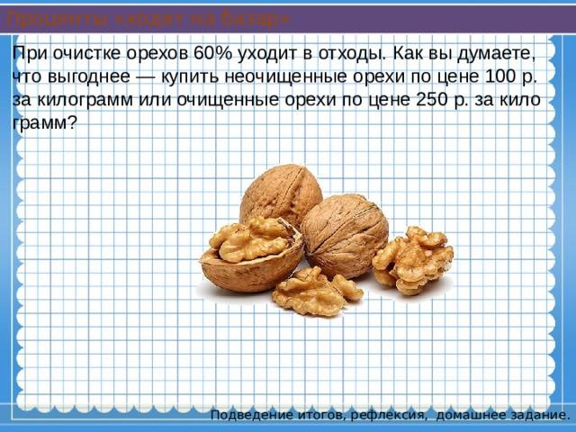 Проценты «ходят на базар» При очистке орехов 60% уходит в отходы. Как вы думаете, что выгоднее — купить неочищенные орехи по цене 100 р. за килограмм или очищенные орехи по цене 250 р. за килограмм? Подведение итогов, рефлексия, домашнее задание.