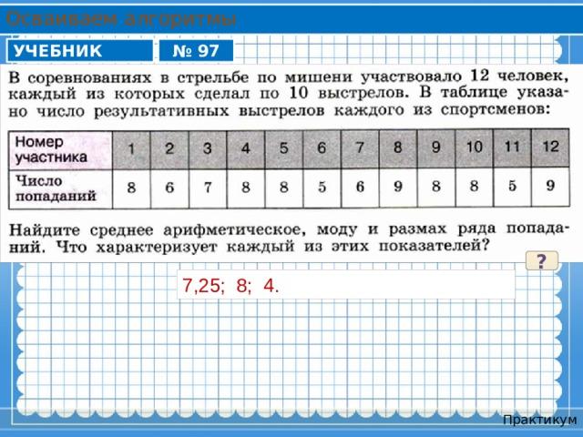 Осваиваем алгоритмы УЧЕБНИК № 97 ? 7,25; 8; 4. Практикум