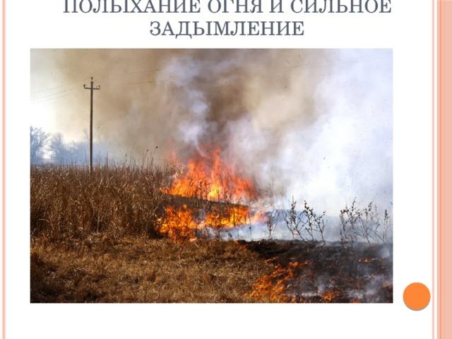 Полыхание огня и сильное задымление