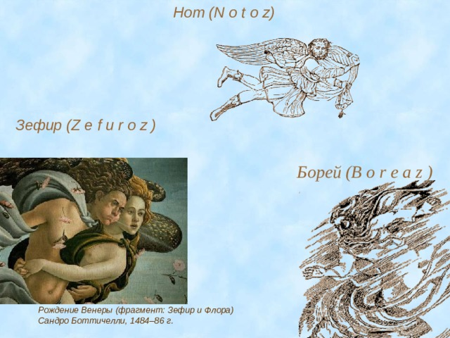 Нот (N o t o z)  Зефир (Z e f u r o z ) Борей (B o r e a z ) Рождение Венеры (фрагмент: Зефир и Флора) Сандро Боттичелли, 1484–86 г.