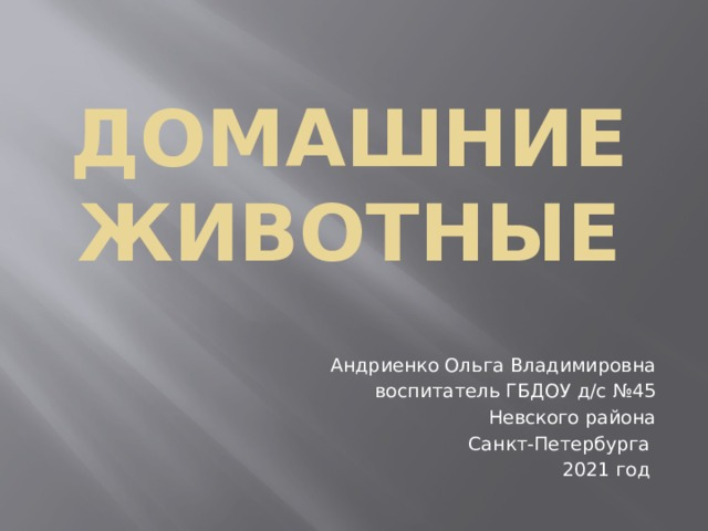 Домашние животные Андриенко Ольга Владимировна воспитатель ГБДОУ д/с №45 Невского района Санкт-Петербурга 2021 год