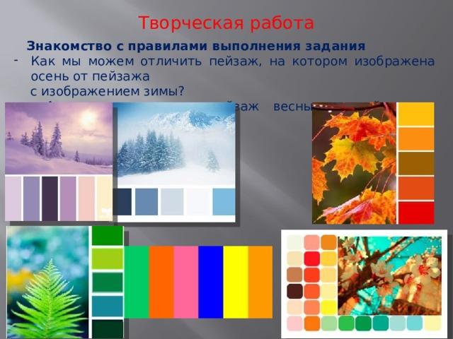 Творческая работа Знакомство с правилами выполнения задания Как мы можем отличить пейзаж, на котором изображена осень от пейзажа  с изображением зимы? - А как мы отличим пейзаж весны от пейзажа с изображением лета?