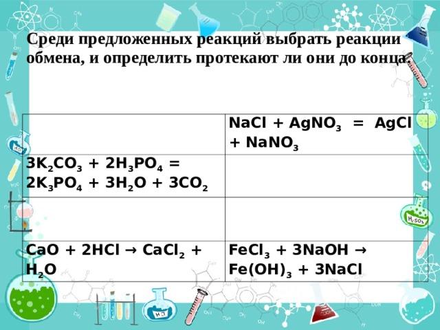 Среди предложенных реакций выбрать реакции обмена, и определить протекают ли они до конца.  NaCl + AgNO 3 = AgCl + NaNO 3 3K 2 CO 3 + 2H 3 PO 4 = 2K 3 PO 4 + 3H 2 O + 3CO 2 CaO + 2HCl → CaCl 2 + H 2 O FeCl 3 + 3NaOH → Fe(OH) 3 + 3NaCl