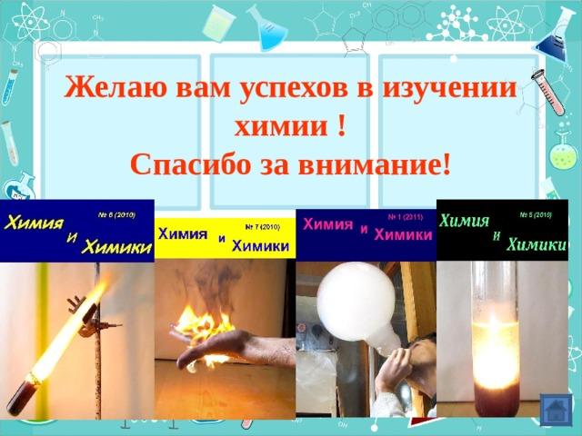 Желаю вам успехов в изучении химии !  Спасибо за внимание!