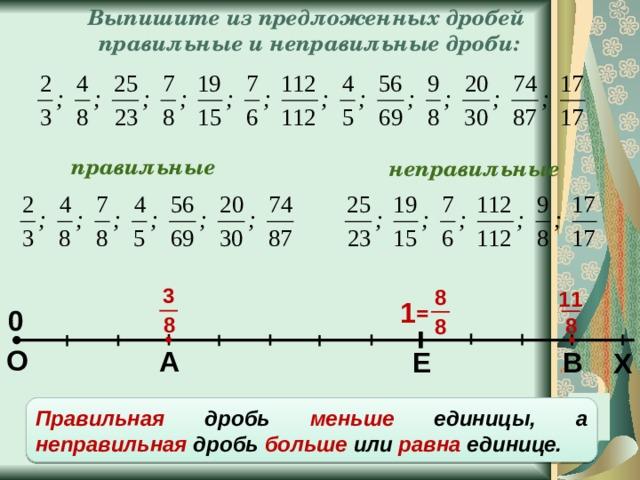 Выпишите из предложенных дробей правильные и неправильные дроби: правильные неправильные 3 8 11 1 = 0 8 8 8 О А Е В Х Правильная дробь меньше единицы, а неправильная дробь больше или равна единице.