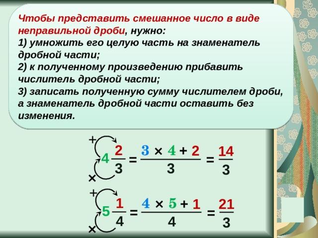 Чтобы представить смешанное число в виде неправильной дроби , нужно: 1) умножить его целую часть на знаменатель дробной части;  2) к полученному произведению прибавить числитель дробной части;  3) записать полученную сумму числителем дроби, а знаменатель дробной части оставить без изменения. + 2 3  ×  4 + 2 14 4 = = 3 3 3 × + 1 4  ×  5 + 1 21 5 = = 4 4 3 ×