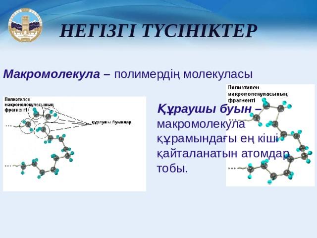 НЕГІЗГІ ТҮСІНІКТЕР Макромолекула – полимердің молекуласы Құраушы буын – макромолекула құрамындағы ең кіші қайталанатын атомдар тобы.