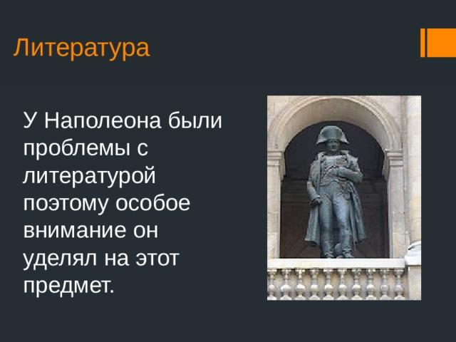 Литература У Наполеона были проблемы с литературой поэтому особое внимание он уделял на этот предмет.