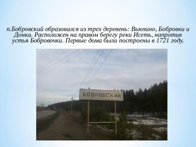п.Бобровский образовался из трех деревень: Вьюхино, Бобровки и Донка. Расположен на правом берегу реки Исеть, напротив устья Бобровочки. Первые дома были построены в 1721 году.