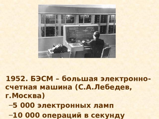 1952. БЭСМ – большая электронно-счетная машина (С.А.Лебедев, г.Москва)