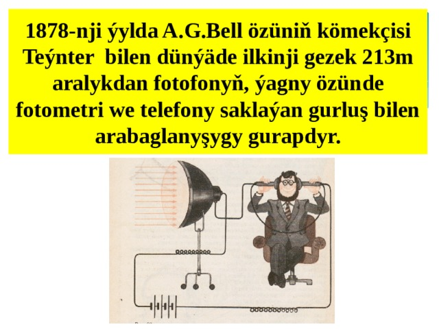 1878-nji ýylda A.G.Bell özüniň kömekçisi Teýnter bilen dünýäde ilkinji gezek 213m aralykdan fotofonyň, ýagny özünde fotometri we telefony saklaýan gurluş bilen arabaglanyşygy gurapdyr.