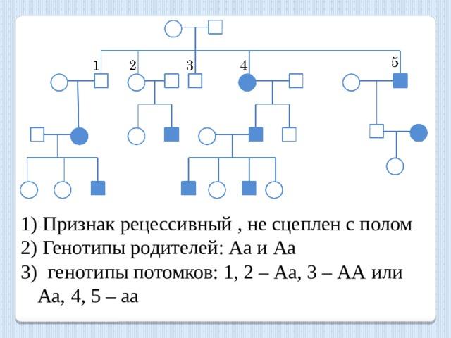 Признак рецессивный , не сцеплен с полом  Генотипы родителей: Аа и Аа  генотипы потомков: 1, 2 – Аа, 3 – АА или Аа, 4, 5 – аа