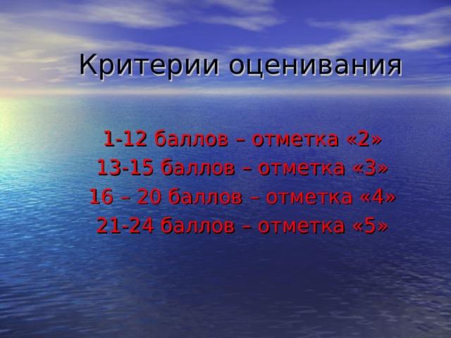 Критерии оценивания 1-12 баллов – отметка «2» 13-15 баллов – отметка «3» 16 – 20 баллов – отметка «4» 21-24 баллов – отметка «5»