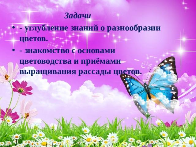 Задачи - углубление знаний о разнообразии цветов. - знакомство с основами цветоводства и приёмами выращивания рассады цветов.