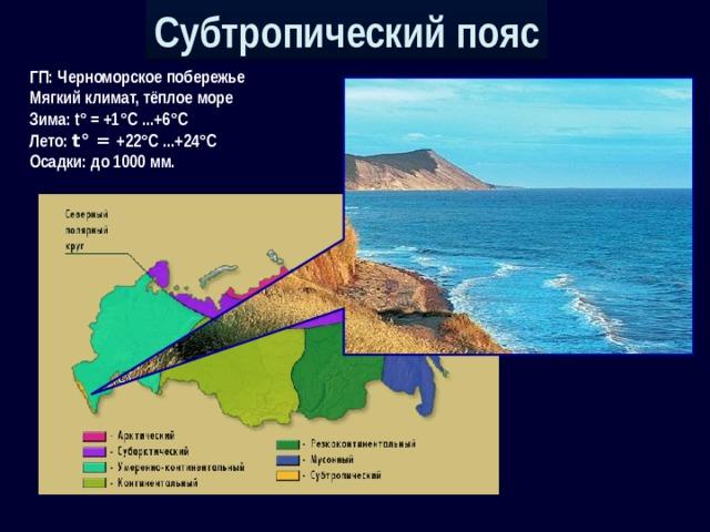 Субтропический пояс ГП: Черноморское побережье Мягкий климат, тёплое море Зима: t° = +1°С ...+6°С Лето: t° = +22°С ...+24°С Осадки: до 1000 мм.