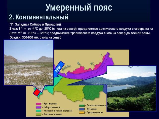 Умеренный пояс 2. Континентальный АВМ ТВМ ГП: Западная Сибирь и Прикаспий. Зима: t° = от -4°С до -25°С (с юга на север); продвижение арктического воздуха с севера на юг Лето: t° = +15°С ...+25°С; продвижение тропического воздуха с юга на север до лесной зоны. Осадки: 300-600 мм. с юга на север