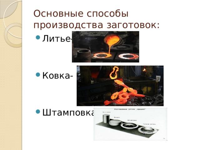 Основные способы производства заготовок: