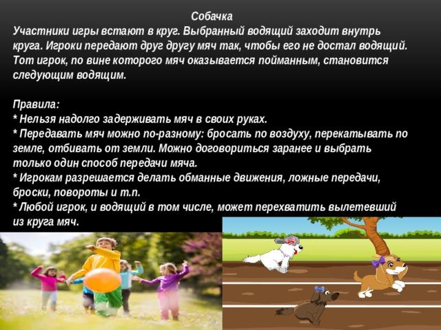 Собачка Участники игры встают в круг. Выбранный водящий заходит внутрь круга. Игроки передают друг другу мяч так, чтобы его не достал водящий. Тот игрок, по вине которого мяч оказывается пойманным, становится следующим водящим.  Правила: * Нельзя надолго задерживать мяч в своих руках. * Передавать мяч можно по-разному: бросать по воздуху, перекатывать по земле, отбивать от земли. Можно договориться заранее и выбрать только один способ передачи мяча. * Игрокам разрешается делать обманные движения, ложные передачи, броски, повороты и т.п. * Любой игрок, и водящий в том числе, может перехватить вылетевший из круга мяч.