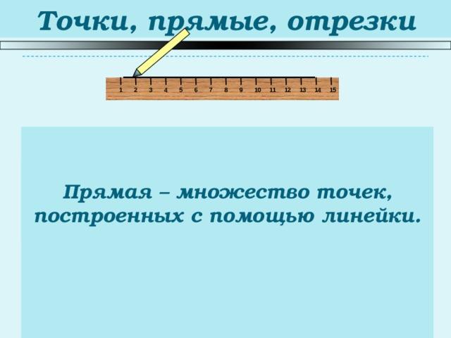Точки, прямые, отрезки 5 1 2 15 14 13 12 6 11 10 9 8 3 7 4 Прямая – множество точек, построенных с помощью линейки.