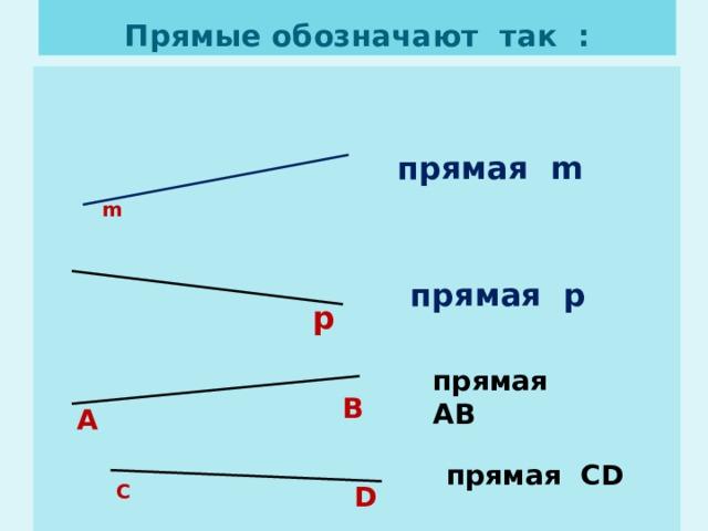 Прямые обозначают так : прямая m m прямая р р прямая АВ В А прямая CD С D