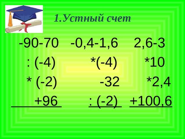 1.Устный счет  -90-70 -0,4-1,6 2,6-3  : (-4) *(-4) *10  * (-2) -32 *2,4  +96  : (-2)  +100,6