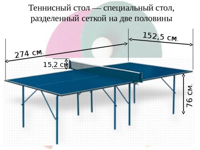 76 см . 274 см . 152,5 см . Теннисный стол — специальный стол, разделенный сеткой на две половины 15,2 см.