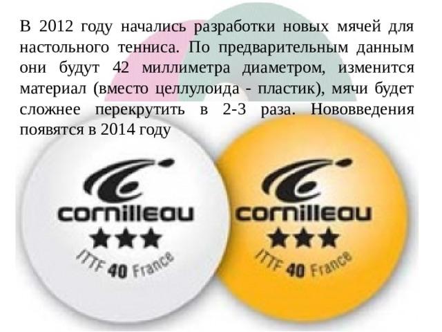 В 2012 году начались разработки новых мячей для настольного тенниса. По предварительным данным они будут 42 миллиметра диаметром, изменится материал (вместо целлулоида - пластик), мячи будет сложнее перекрутить в 2-3 раза. Нововведения появятся в 2014 году