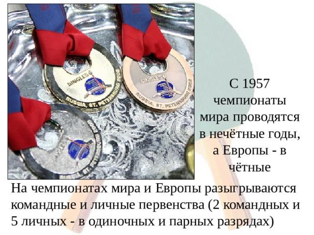 С 1957 чемпионаты мира проводятся в нечётные годы, а Европы - в чётные На чемпионатах мира и Европы разыгрываются командные и личные первенства (2 командных и 5 личных - в одиночных и парных разрядах)