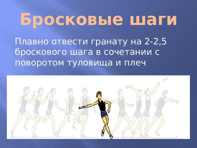 Бросковые шаги Плавно отвести гранату на 2-2,5 броскового шага в сочетании с поворотом туловища и плеч
