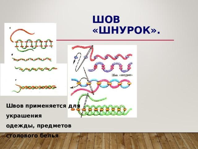 ШОВ «ШНУРОК». Швов применяется для украшения одежды, предметов столового белья