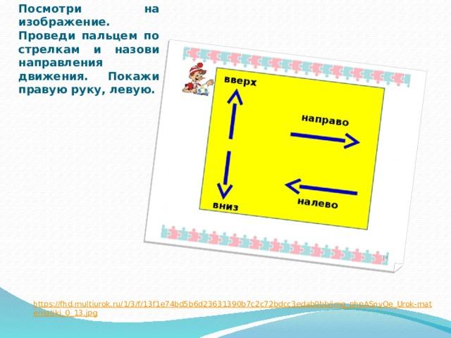 Посмотри на изображение. Проведи пальцем по стрелкам и назови направления движения. Покажи правую руку, левую. https://fhd.multiurok.ru/1/3/f/13f1e74bd5b6d23631390b7c2c72bdcc3edab0bb/img_phpASnyQe_Urok-matematiki_0_13.jpg
